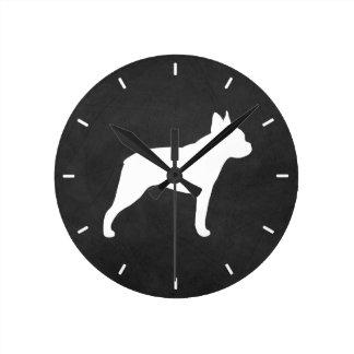 Boston Terrier Silhouette Round Clock