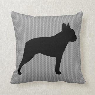 Boston Terrier Silhouette Throw Pillow