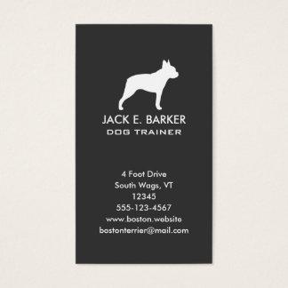 Boston Terrier Silhouette Vertical Business Card