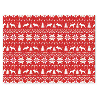 Boston Terrier Silhouettes Christmas Pattern Tissue Paper