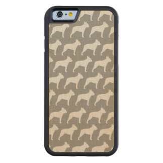 Boston Terrier Silhouettes Pattern Carved Maple iPhone 6 Bumper Case