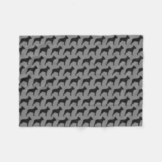 Boston Terrier Silhouettes Pattern Grey Fleece Blanket