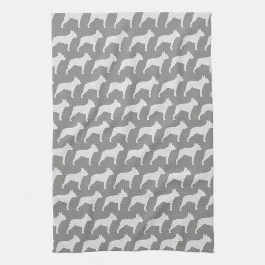 Boston Terrier Silhouettes Pattern Grey Kitchen Towel