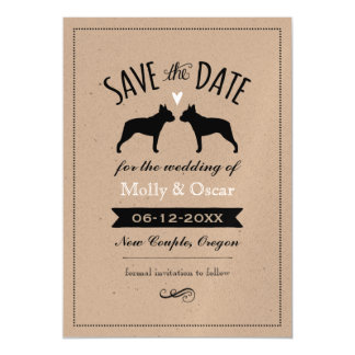 Boston Terrier Silhouettes Wedding Save the Date Magnetic Card