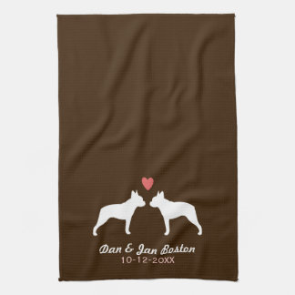 Boston Terrier Silhouettes with Heart and Text Kitchen Towel