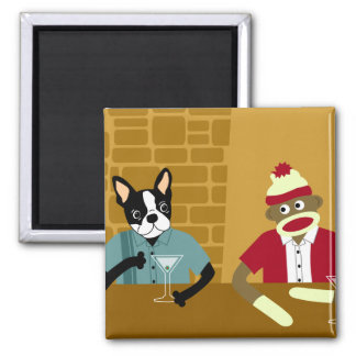 Boston Terrier & Sock Monkey Magnet