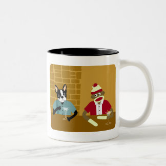 Boston Terrier & Sock Monkey Two-Tone Coffee Mug