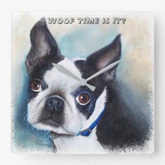 BOSTON TERRIER SQUARE WALL CLOCK