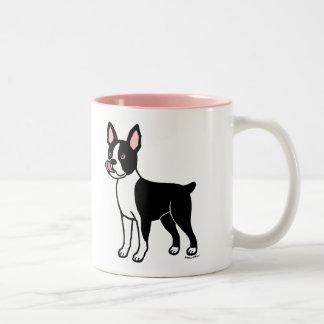 Boston Terrier Standing Two-Tone Coffee Mug
