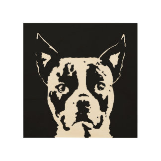 """Boston Terrier Stencil Wood 8""""x8"""" Wall Art"""