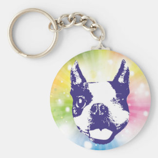 Boston Terrier Sunburst Keychain