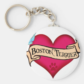 Boston Terrier Tattoo Heart Keychain