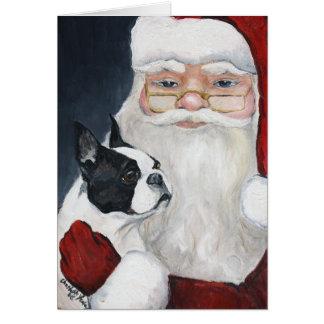 """Boston Terrier Tells Santa"" Art Christmas Card"