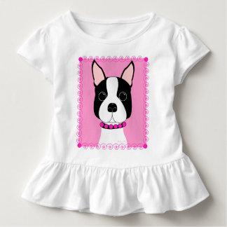 Boston Terrier Toddler Girls Ruffle Shirt