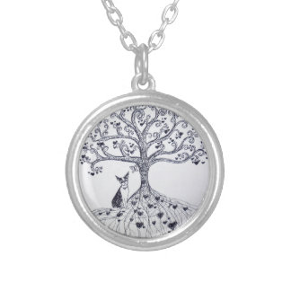 Boston Terrier Tree of Life Black and white Silver Plated Necklace