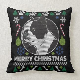 Boston Terrier Ugly Christmas Sweater Dog Design Throw Pillow