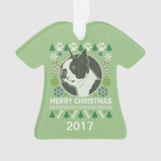 Boston Terrier Ugly Christmas Sweater Ornament