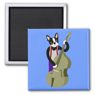 Boston Terrier Upright  Bass Player Magnet