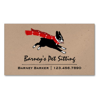 Boston Terrier Wearing Red Winter Scarf Business Card Magnet