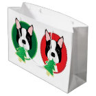 Boston Terrier Whimsical Christmas Large Gift Bag