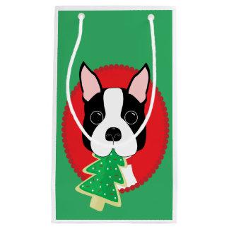 Boston Terrier Whimsical Christmas Small Gift Bag
