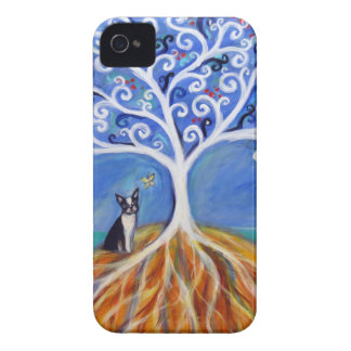 Boston Terrier White Tree of Life iPhone 4 Case-Mate Case