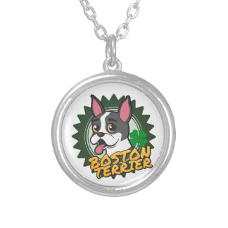 Boston Terrier with a four leaf clover Round Pendant Necklace