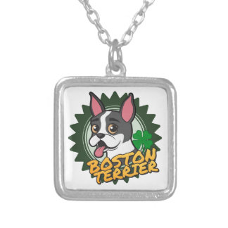 Boston Terrier with a four leaf clover Square Pendant Necklace