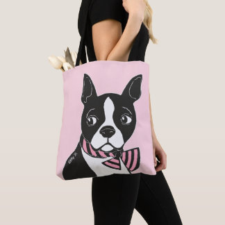 Boston Terrier with Bow Tie Light Pink Tote Bag