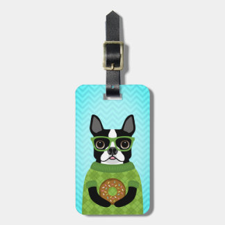 Boston Terrier with Chocolate Sprinkled Donut Tag