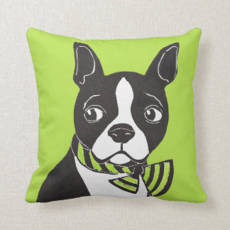 Boston Terrier with Green Background Pillow