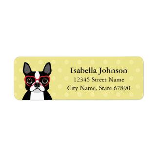 Boston Terrier with Heart Glasses Address Label