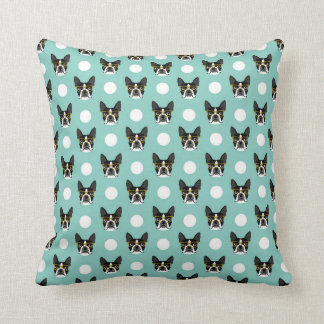 Boston Terrier with Hipster Glasses Pattern Pillow