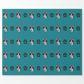 Boston Terrier with Paws Wrapping Paper