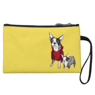 Boston Terrier with Puppy in Track Suits Wristlet
