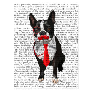 Boston Terrier With Red Tie and Moustache 2 Postcard