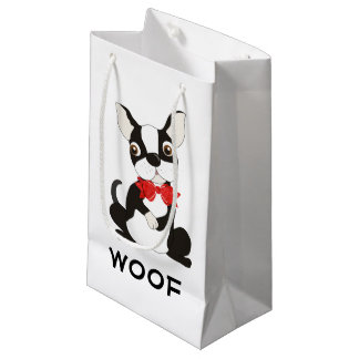 Boston Terrier Woof Small Gift Bag