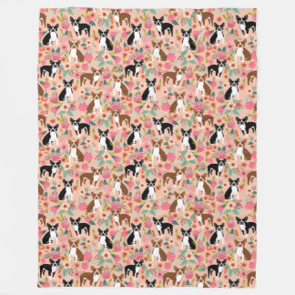 Boston Terriers blanket - florals design