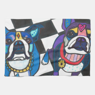 Boston Terriers by Heather Galler Kitchen Towel