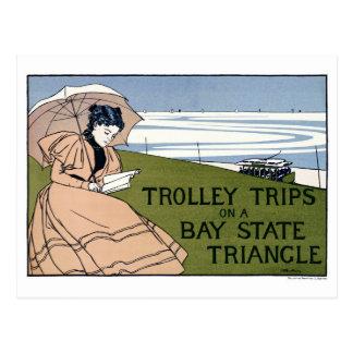 Boston Trolley Vintage Poster Restored Postcard