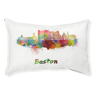Boston V2 skyline in watercolor Pet Bed
