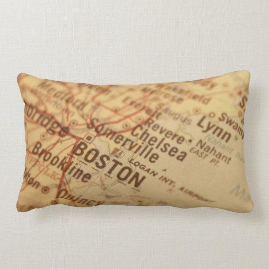 Boston Vintage Map Lumbar Pillow