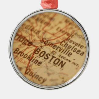 BOSTON Vintage Map Metal Ornament