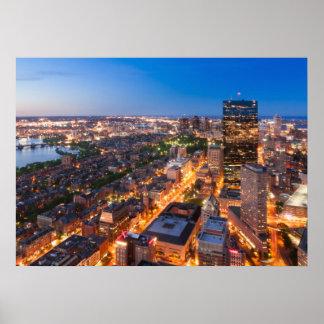 Boston's skyline at dusk print