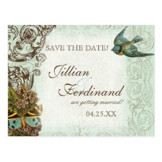 Botanica Wedding Postcard Save the Date - Blue