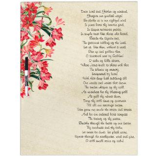 Botanical Amarylis Flowers Poem Dry Erase Board