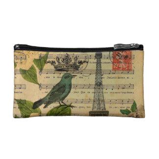 botanical art french bird Paris Eiffel Tower Cosmetic Bag