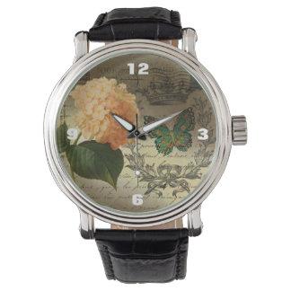 botanical art Hydrangea butterfly crown Paris Wristwatch