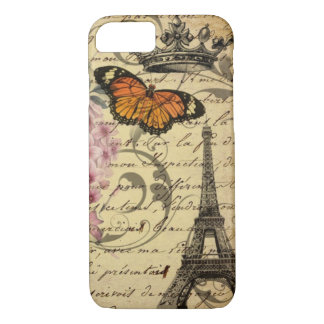 botanical art scripts hydrangea Paris Eiffel tower Case-Mate iPhone Case