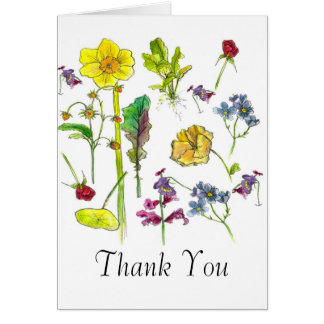 Botanical Art Vegetable Flowers Thank You Card
